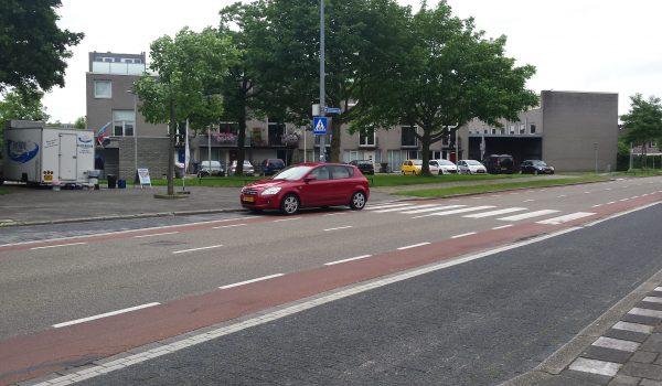 rode auto parkeert op het zebrapad, de bestuurder koopt een visje